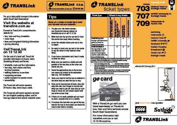 Gold Coast Bus 703 Timetable