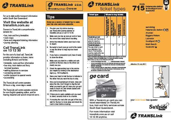 Gold Coast Bus 715 Timetable