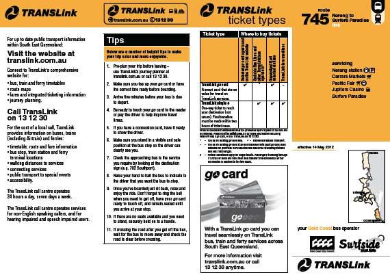 Gold Coast Bus 745 Timetable