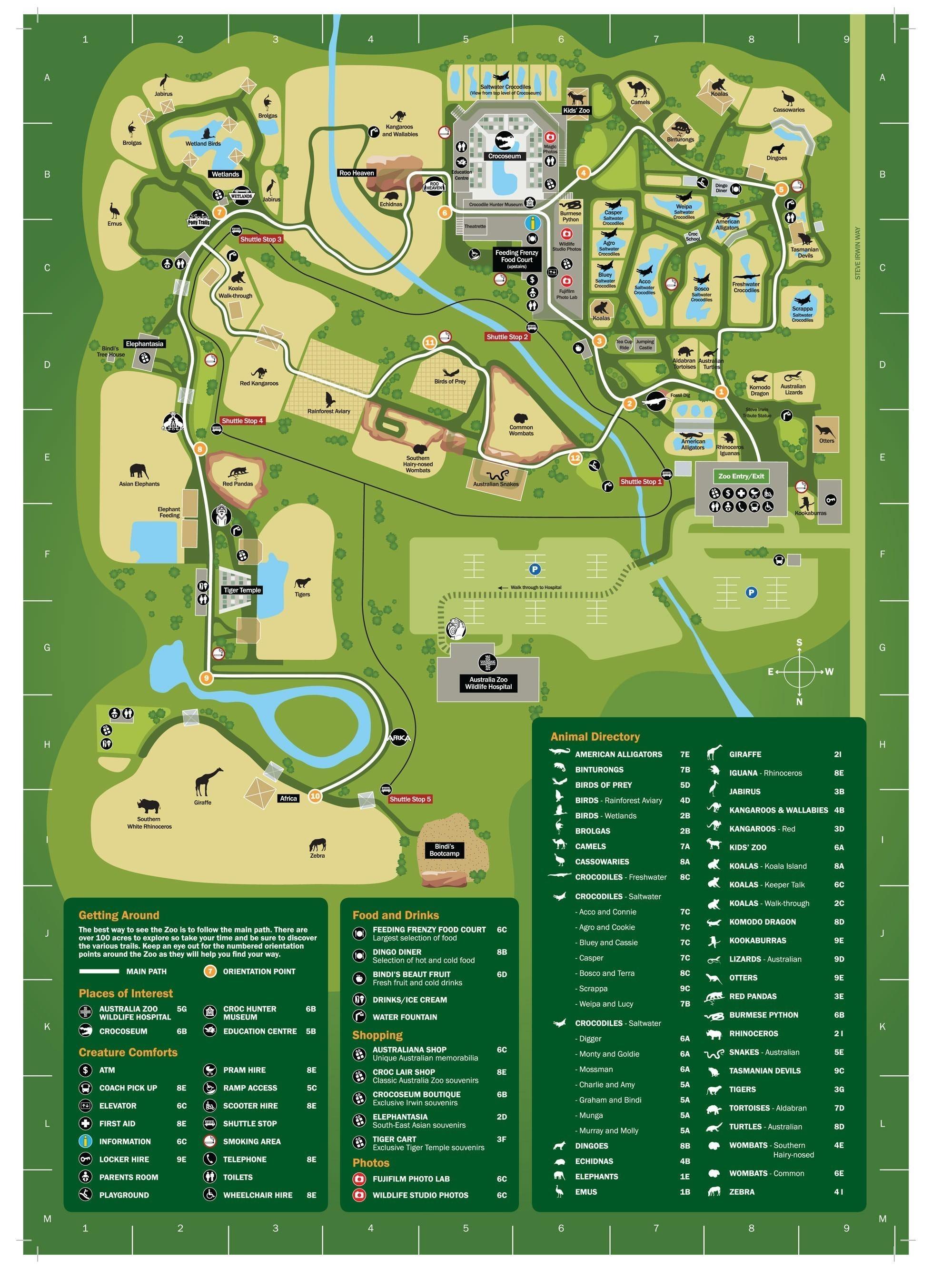 Australia Zoo Map Sunshine Coast Experience Oz