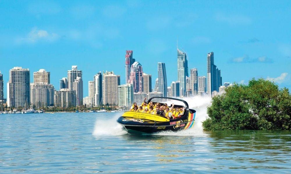 Paradise Jet Boat drifting around corner Gold Coast