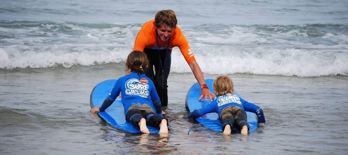 Kids learning to surf at Great Ocean Road