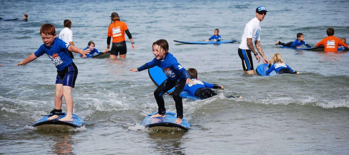 Kids surfing Great Ocean Road