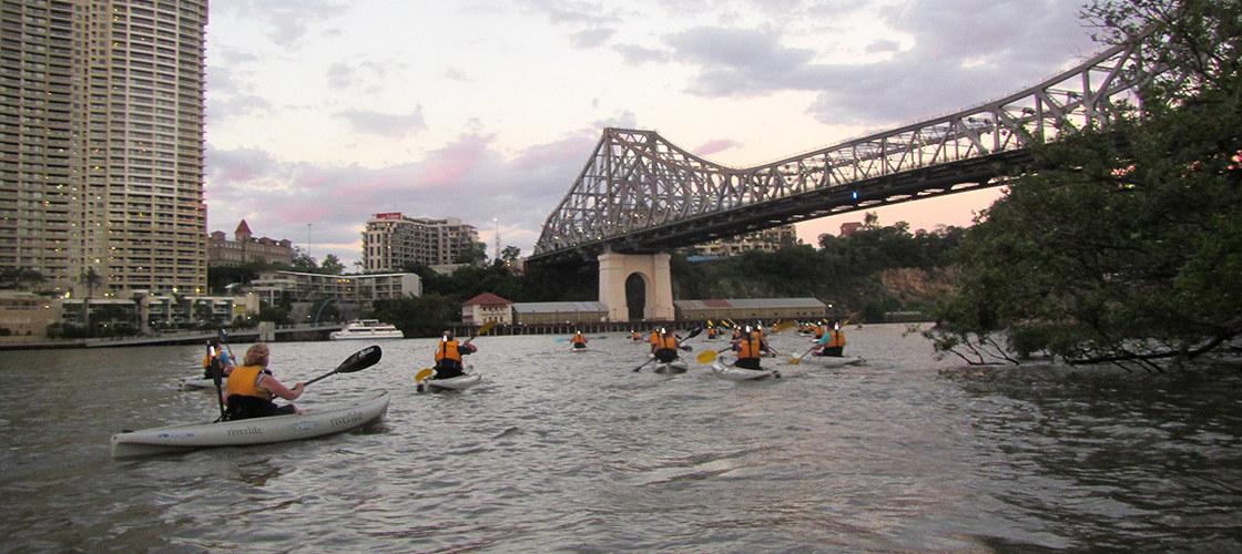 Kayaking near Story Bridge Brisbane