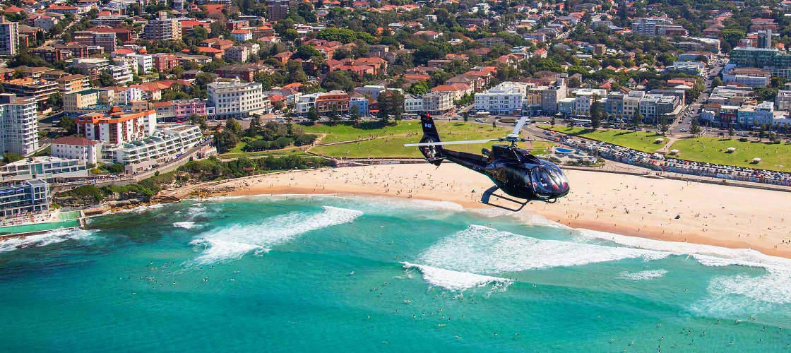 sydney harbour helicopter scenic flight beach view
