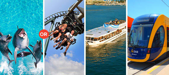 Movie World OR Sea World Entry with Sightseeing Cruise and 1 Day Unlimited Travel Pass
