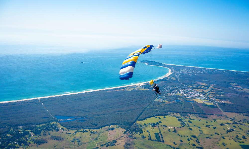 Skydive Byron Bay ocean view