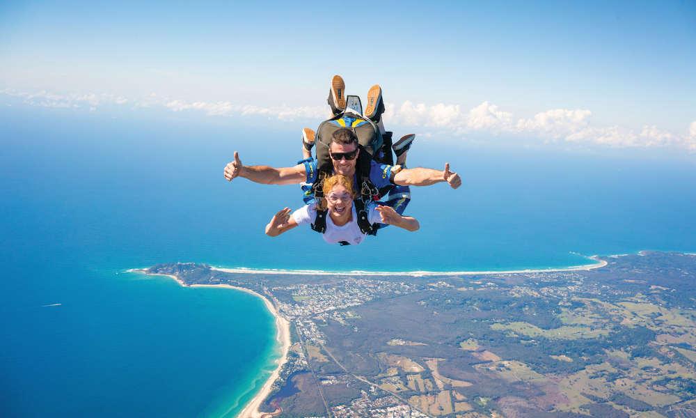Skydive Byron Bay tandem jump view