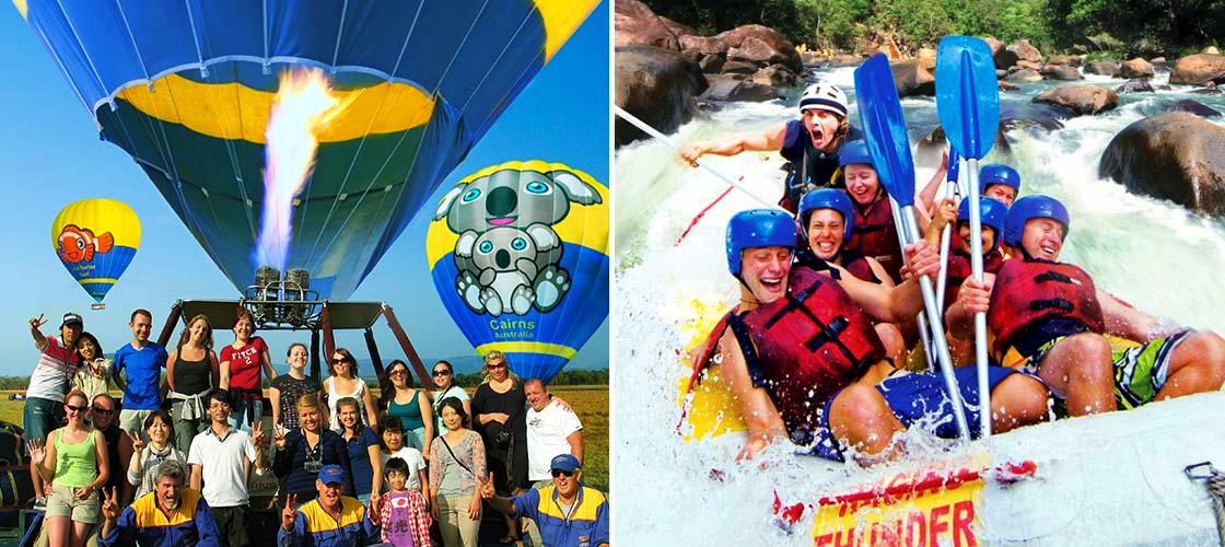 Hot air balloon and Barron river white water rafting package